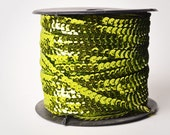 Lime Green Single Strand Sequin Trim, 80 yard full spool