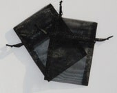 100 Black Organza Bags, 50  3 x 4 inches and 50 4 x 6