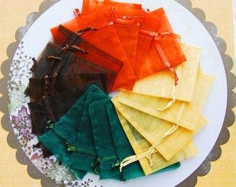Organza Bags 3x4 inch 48 multi color Fall Emerald, Orange, Brown, Gold