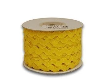 Ric Rac 5mm, 25 yard spool, lemon yellow, 3/8ths inch