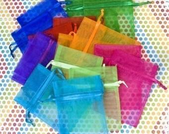 100 Organza Bags, 3x4 inch, multi color jewel tones, orange, hot pink, purple, red, bright green, aqua, emerald, and royal blue