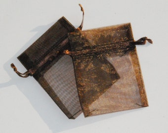 100 Chocolate Brown Organza Bags  3x4 inch