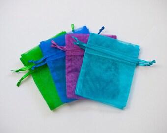 100 Organza Bags, 3x4 inch, multi color, aqua, purple, emerald, and royal