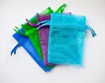 50 Organza Bags, 4x6 inch, multi color, purple, aqua, emerald, royal blue