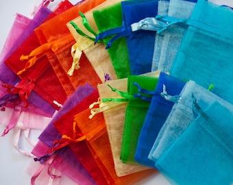 100 Organza Bags, 4x6 inch, multi color 10 of each color