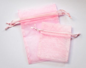 100 Pink Organza Bags, 50  3 x 4 inches and 50 4 x 6, 3x4 and 4x6 multi sized