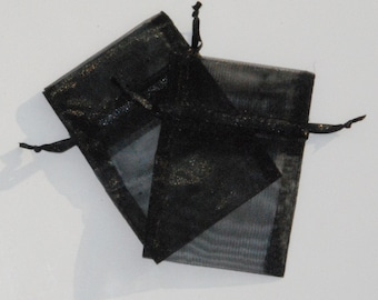 50 Black Organza Bags, 4x6 inches