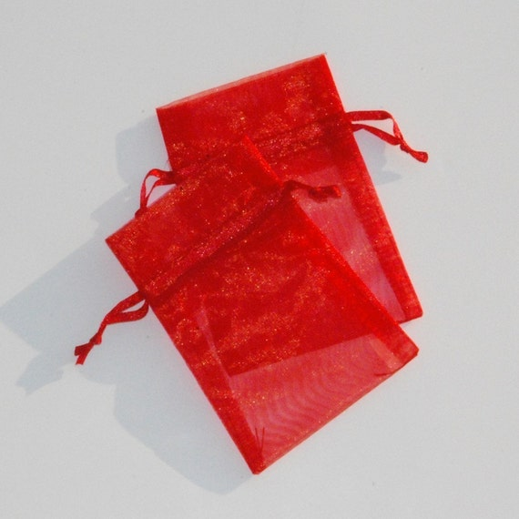Organza Bags 3x4 inch  50  Red and 50 white