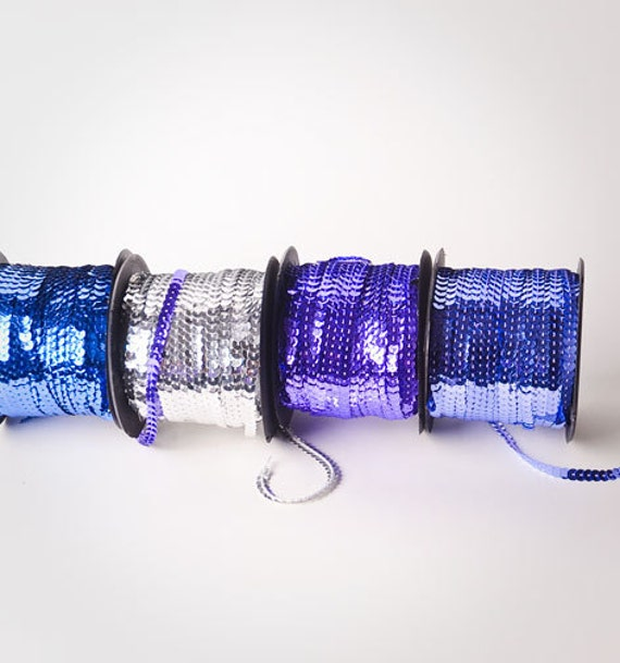 20 yards, Multi-colored Sequin Trims, 5 yards of 4 colors