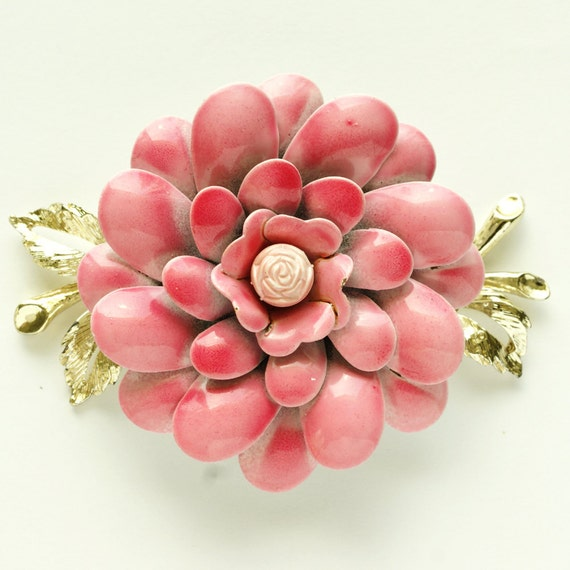 1960's Signed CORO Pink Enamel Rose with Goldtone Leaves Brooch