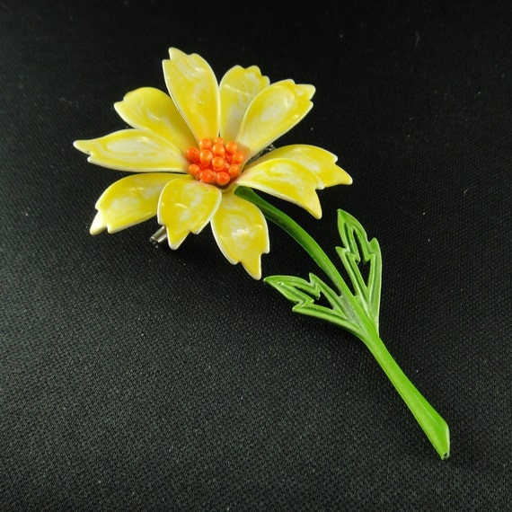 Vintage Enamel Flower Brooch 1960s Long Stem Yellow Daisy by JJ