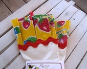 Kitsch Kitchen Gloves - White Dish Gloves with Yellow and Red Strawberry Print Oil Cloth (Latex Free)