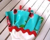 Kitsch Kitchen Gloves - White Dish Gloves with Aqua & Red Cherry Print Oil Cloth (Latex Free)