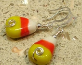 Candy Corn Holiday Halloween Fall Glass Wire Earrings