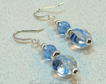 Blue Ribbon Crohns Cancer Awareness Beaded Earrings