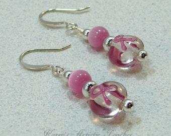 Lt Pink Breast Cancer Awareness Ribbon Beaded Earring 2