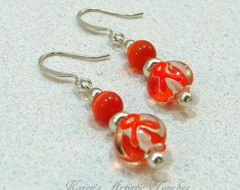 Orange Ribbon Leukemia Cancer Awareness Beaded Earrings
