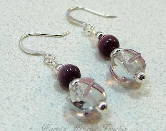 Purple Ribbon Epilepsy Awareness Beaded Earrings