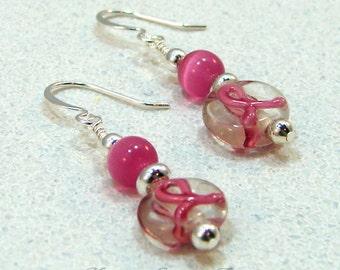 Dk Pink Breast Cancer Awareness Ribbon Beaded Earring 2