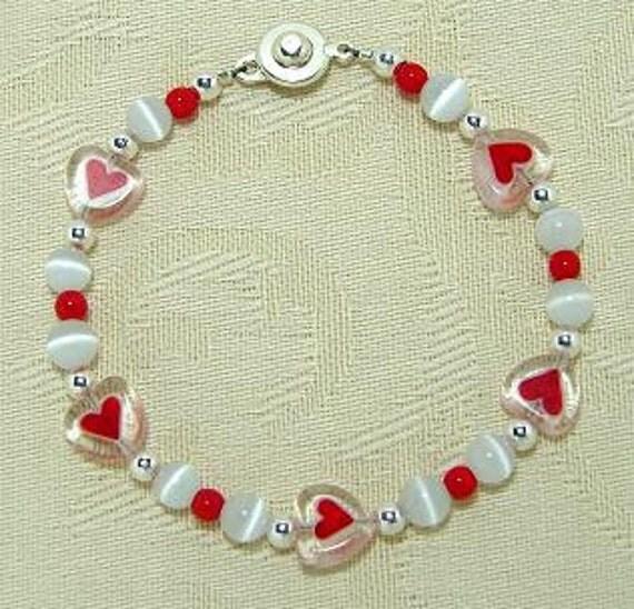 "Valentine Heart Millefiori Glass Beaded Bracelet 7 1/2"""