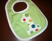 Infant/Toddler boys First 1st Birthday Lolli dot 1 bib Lime Green