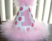Infant/Toddler Girls Pink Polka dot 1 Birthday Hat