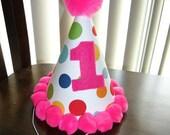 Infant/ Toddler Girls First 1st Birthday Lolli Dot Bright Pink Birthday Party Hat