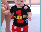 Infant/Toddler Boys 1st First Birthday Mickey Mouse Personalized 1 Shirt BLACK 12m 18m 24m 2Tand Matching hat, bib and diaper cover
