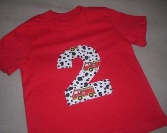Toddler Boys 2nd Second Fireman Firetruck Dalmation Spot 2 Shirt 12m 18m  2T 3T 4T