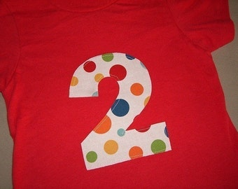 Toddler Boys 2nd Second Birthday Lolli Dot 2 RED Shirt 18m 24m 2T 3T 4T