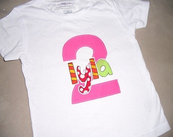 Toddler girls 2nd Second Birthday Bright Pink 2 Personalized Shirt 2T 3T