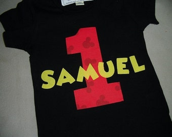 Infant/Toddler Boys 1st First Birthday Mickey Mouse Personalized 1 Shirt BLACK 12m 18m 24m 2T