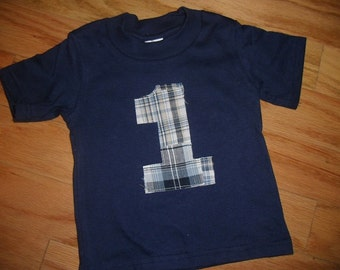 Infant/Toddler Boys 1st First Birthday Shade of Blue Madras Plaid Birthday 1 Shirt 12m 18m 24m 2T
