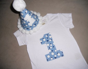 Infant/Toddler Boys First 1st Birthday Blue dot 1 shirt with matching hat 12m 18m 24m 2T