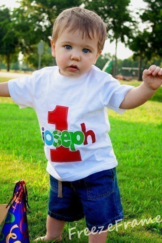Infant/Toddler Boys First 1st Birthday Personalized 1 Shirt SHORT SLEEVE  12m 18m 24m 2T