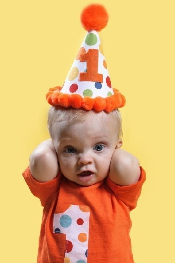 Infant/Toddler Boys First 1st Birthday Orange Lolli Dot Party Set Shirt and hat 12m 18m 24m 2T