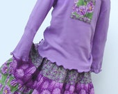 Girls Twirl Skirt Set size 10, 12 or 14, Purple Cactus Flower, Long Sleeve,  Extra twirly longer length, Handmade Preteen Fall Kids Clothes