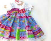 Colorful Cotton Baby Dress Size 3 6 9 12 18 month Baby Girl Clothes 1st Birthday Dress Pink Blue Baby Girl First Birthday Party Dress