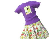 Flower garden girls skirt & Fairy top set Handmade tiered twirl skirt size 4 5 6 7 8 Back to School Fall Children Clothing Kids Clothes