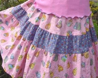 Girls Long Skirt Mid calf length Girl Skirt Pastel Rainbow Cat Girl Pink Twirl Skirt size 2T 3T 4 5 6 7 8 10 12 14 Kid Fall Tween Clothes