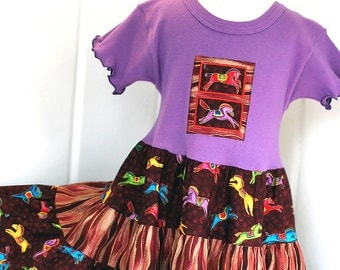 Colorful Carousel Horses Girls Twirly Dress Purple Tiered Twirl Dress Girl Horse Clothing Size 2T 3T 4 5 6 7 Child Clothes Fall Girl Clothes
