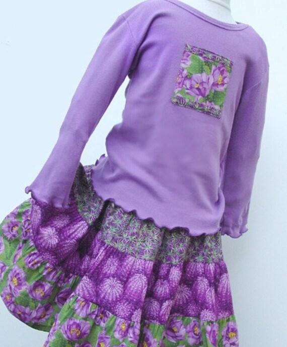 Girls Twirl Skirt Set size 10, 12 or 14, Purple Cactus Flower, Long Sleeve,  Extra twirly longer length, Handmade Preteen Fall Kids Clothes