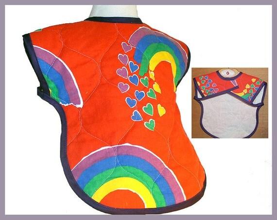 Retro 1980's Fabric Red Rainbow Hearts Baby Bib Full Coverage XLarge Toddler Bib with arm holes  Colorful Unisex Baby Gift Child Clothing