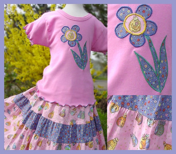 Girls 4-Tiered Long Twirl Skirt  Pink Cat Twirl Skirt  Appliqued Top Size 10 12 14 Easter Outfit Preteen Tween Girl Clothes Fun Kids Clothes