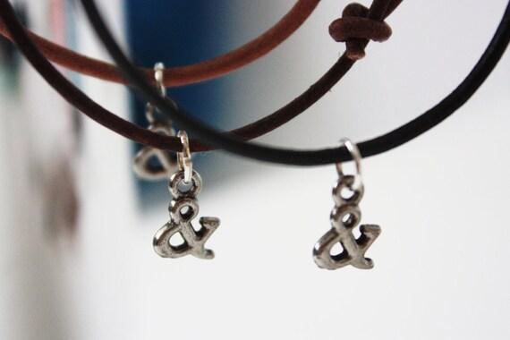 Ampersand (&) Font Charm Adjustable Leather Cord Bracelet
