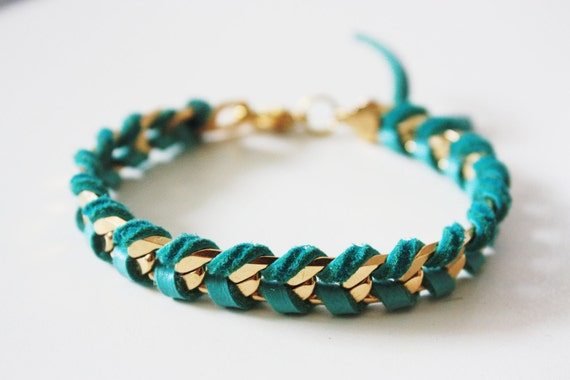 Gold Chain and Leather Wrap Bracelet