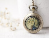 Peacock pocket watch necklace - Peacock wedding jewelry (PW018) - Christmas in July sale - christmasinjuly cij