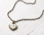 Personalized heart necklace - Tiny heart Initials necklace - Small heart necklace - Custom wedding jewelry (N071)