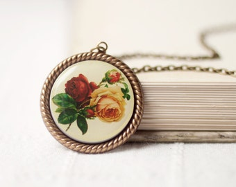 Vintage Flowers necklase - Cameo pendant - Retro Roses necklase (N026)