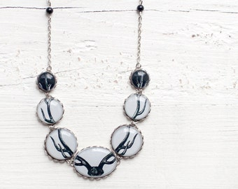 Antler necklace - Deer jewelry - Woodland jewelry - Black and white necklace - Bones  (BN016)